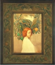 Lucia K. Mathews, Oranges (Portrait of a Red Haired Girl), 1910. Watercolor on paper, 25.5 x 18.25 inches, with Furniture Shop frame, 41.25 x 34.25 inches. Collection of the Oakland Museum of California; gift of Harald Wagner.