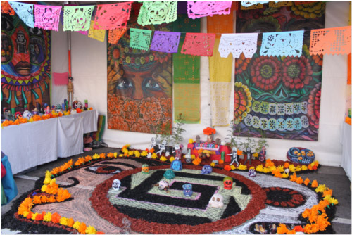 Oakland artist Daniel Camancho's space at the Día de Los Muertos festival.