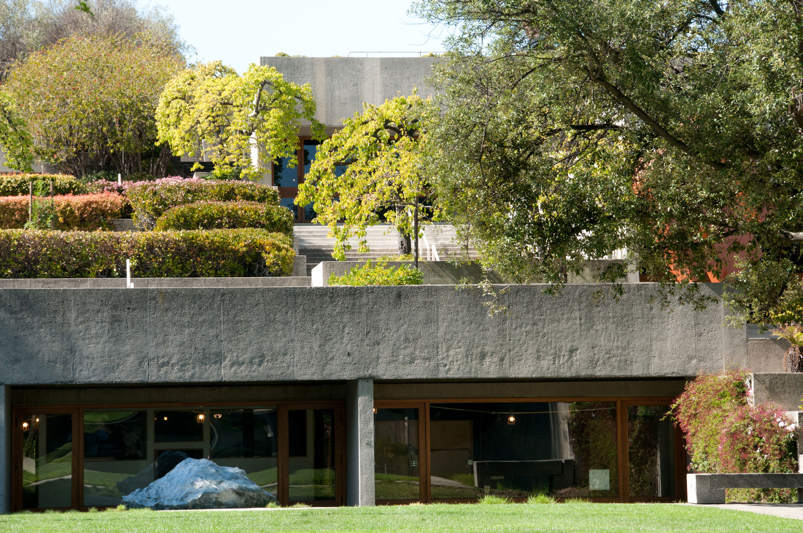 View into the museum from the terraced gardens at OMCA in Oakland