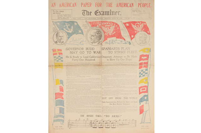 1898 The Examiner newspaper from William Randolph Hearst, Collection of the Oakland Museum of California