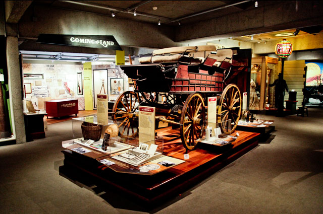 OMCA's History of California Gallery with a stagecoach