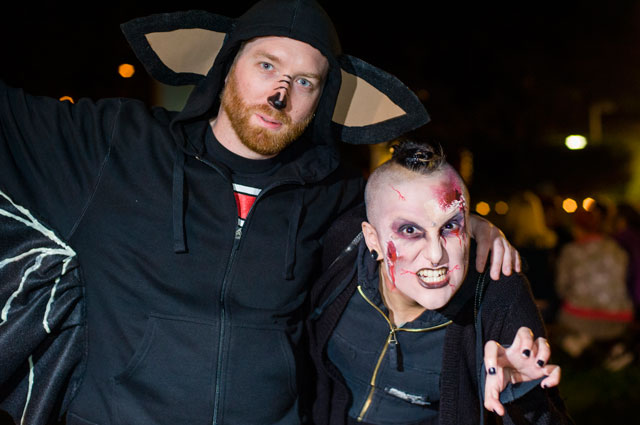 Visitors dressed as zombies at the Oakland Museum of California's Halloween Thriller Night