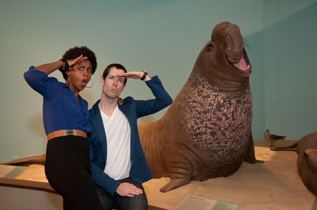 A man and woman pose humorously with sculptures of seals
