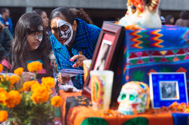 Ofrendas (altars) at the Oakland Museum of California Days of the Dead Community Celebration