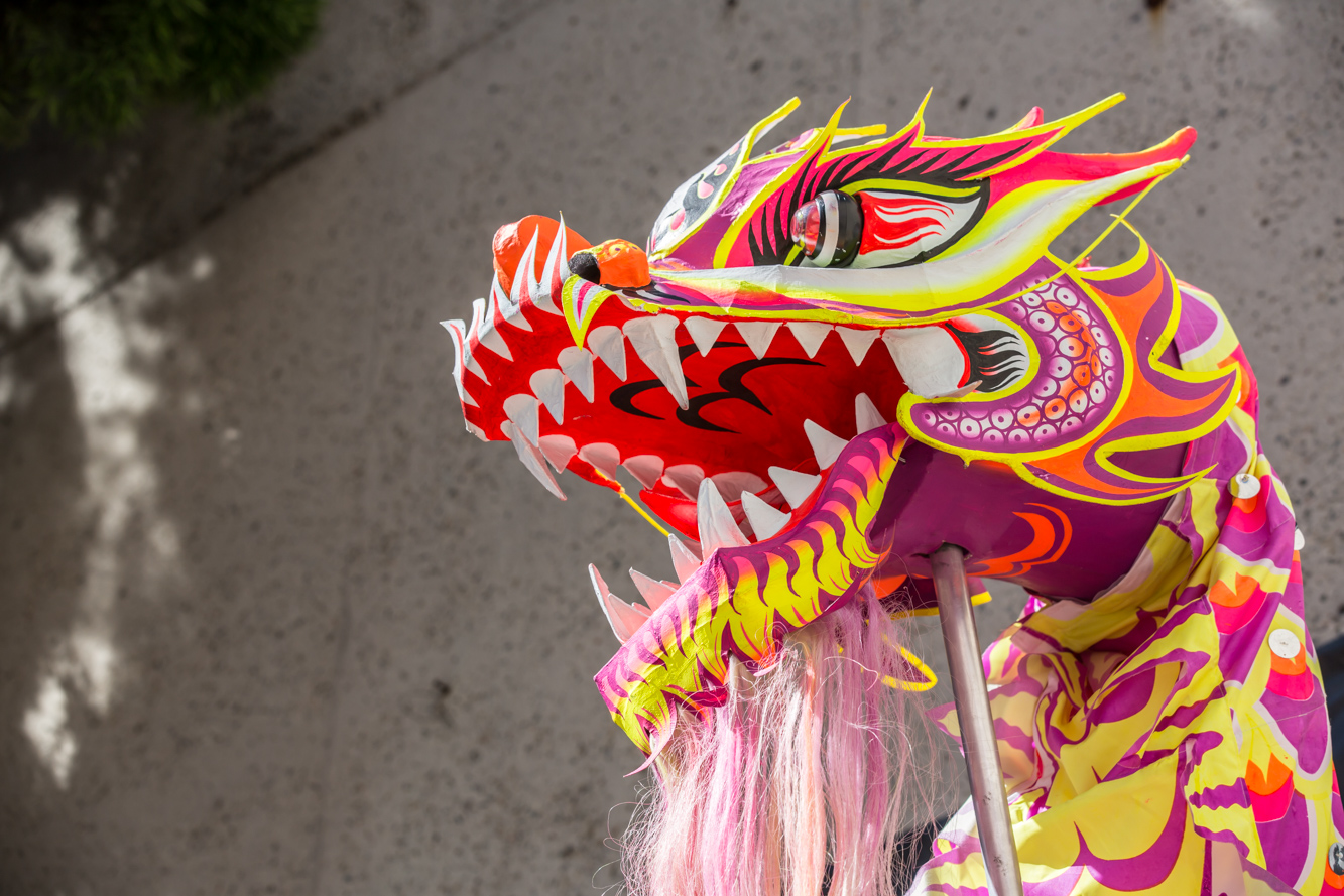 A colorful Lunar New Year dragon at OMCA