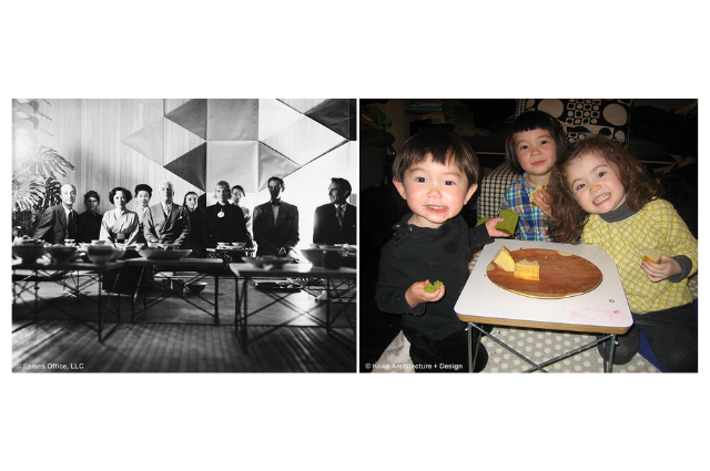 (Left) Eames Office sitting. (Right) Children eating, sitting down.