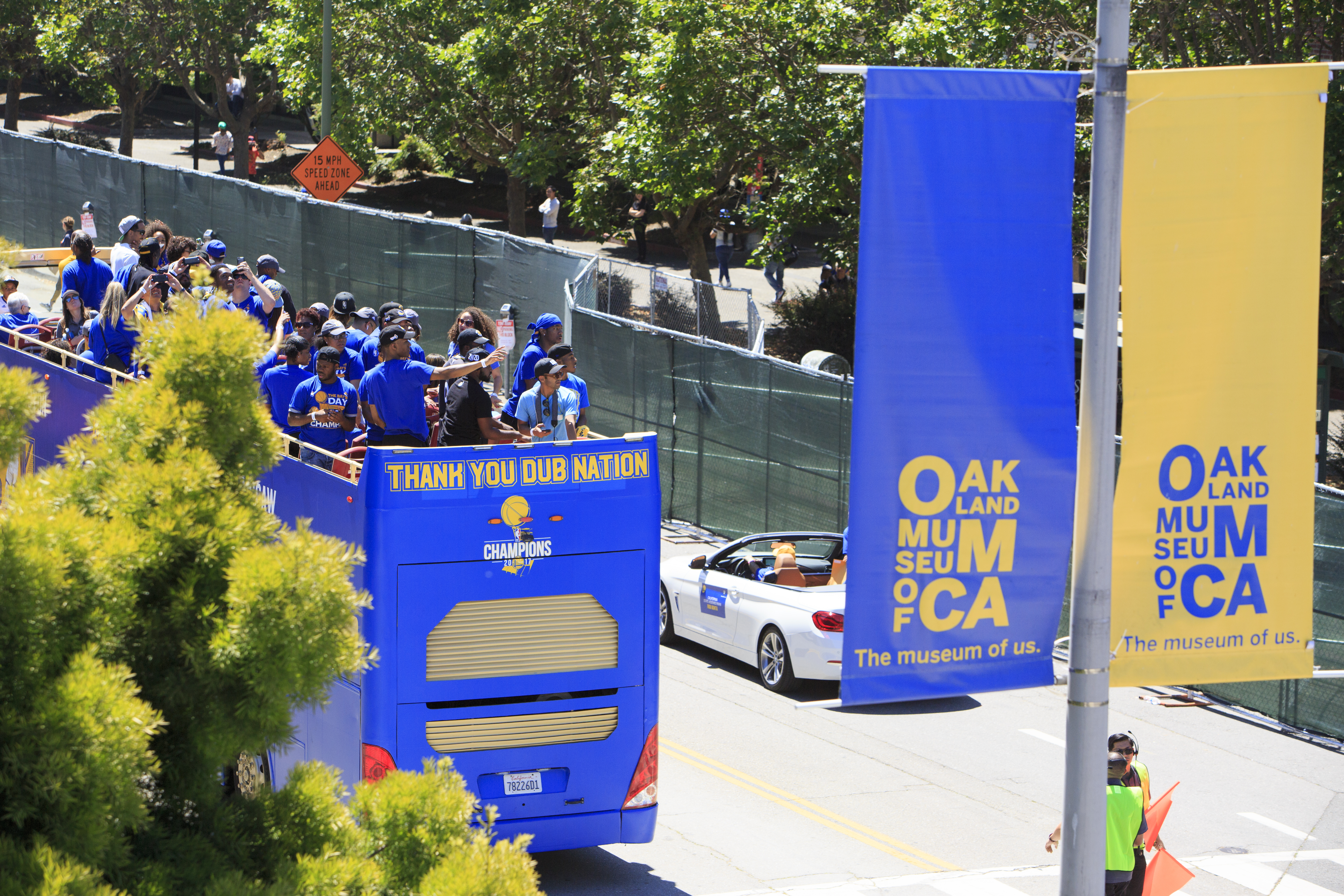 View of the Warriors Championship Parade in downtown Oakland. Photo: Oakland Museum of California