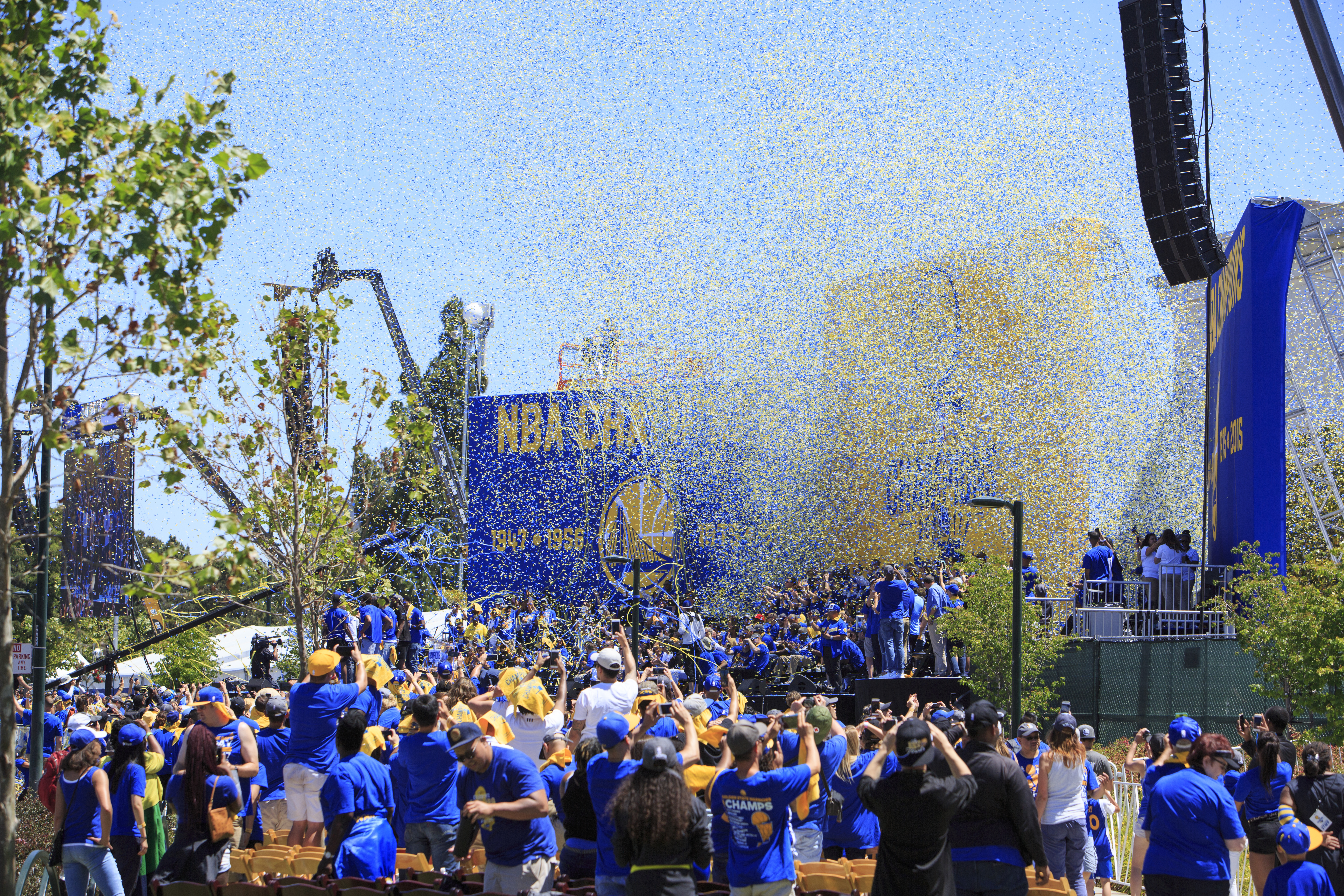 Blue and gold confetti at the Warriors Championship Parade. Photo: Oakland Museum of California