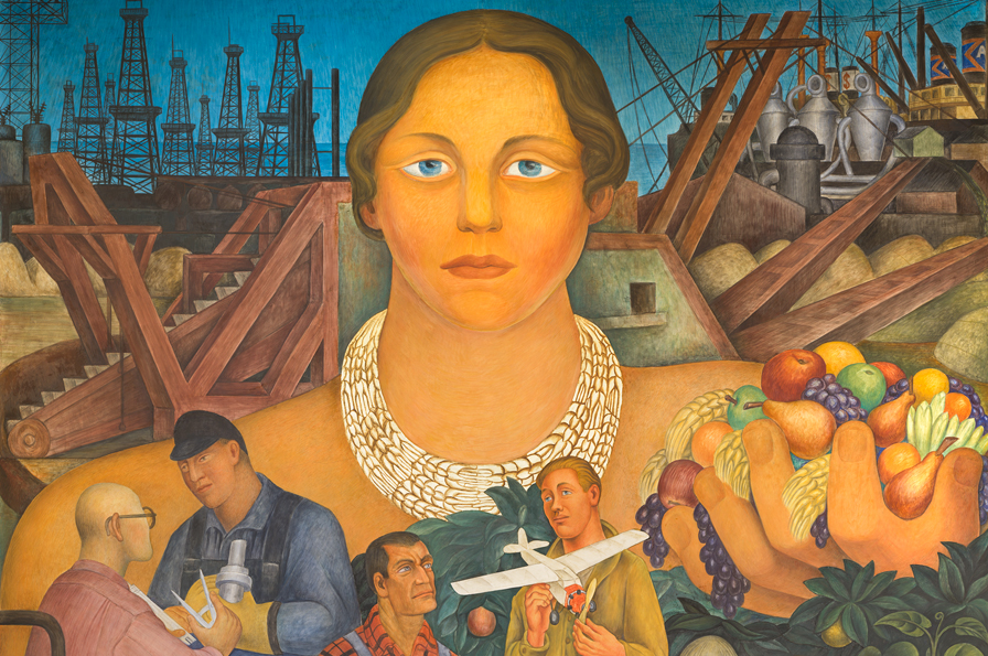 Diego Rivera Allegory of California (detail), 1931.The City Club of San Francisco, Stock Exchange Tower, 2014. Photograph by Johnna Arnold © 2014 Banco de México Diego Rivera Frida Kahlo Museums Trust, Mexico, D.F. / Artists Rights Society (ARS), New York