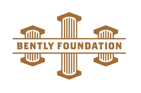 White and gold Bently Foundation logo