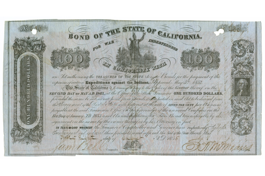 State of California, Bond of the State of California for War Indebtedness, 1853-1862. Paper, 11.375 in HIGH x 12 in WIDE. Museum Purchase