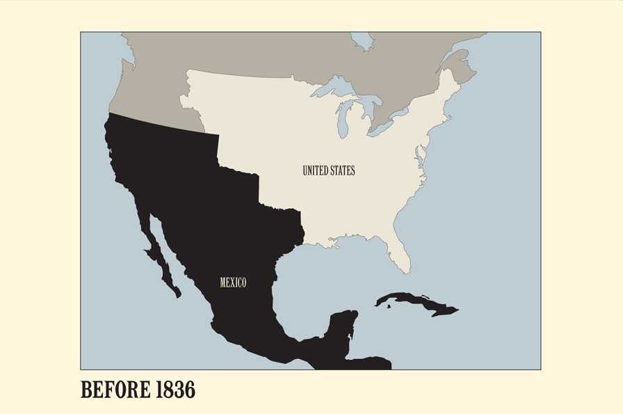 This graphic from the OMCA Gallery of California History shows Mexican and US territory in 1936.
