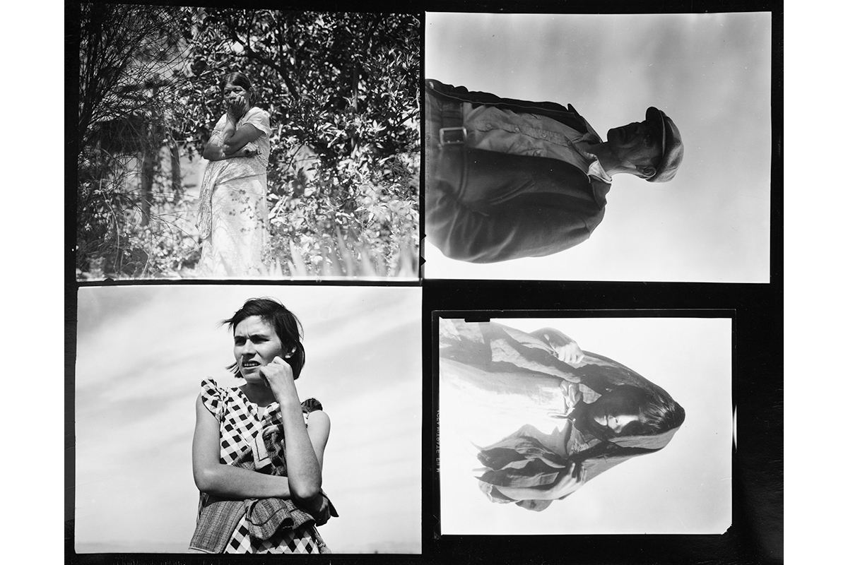 Grid of 4 photos of people: a woman standing amongst trees, a man with his hands in his pockets, a woman with her hand on her chin, and a small boy with a towel on his head