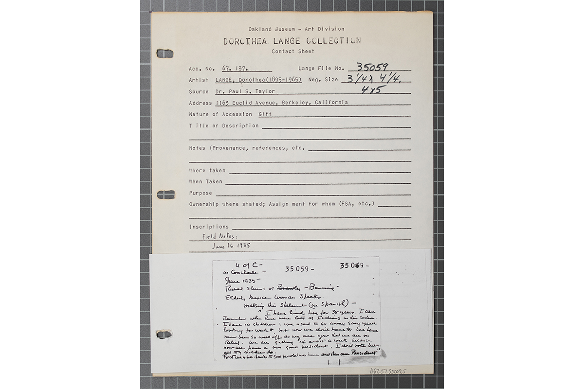A document from OMCA featuring Dorothea Lange's field notes for her Coachella Valley photos