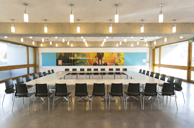 Tables and chairs set up in a conference room style in the Blue Oak Cafe