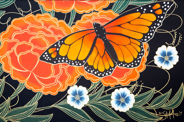 Detail of a Monarch Butterfly painted by Oakland artist Jet Martinez for the Oakland Museum of California