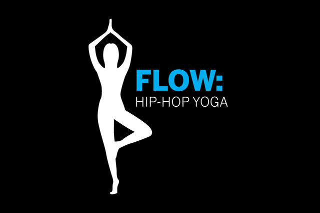 "Graphic illustration of a body doing standing yoga pose next to text ""flow: hip-hop yoga"""