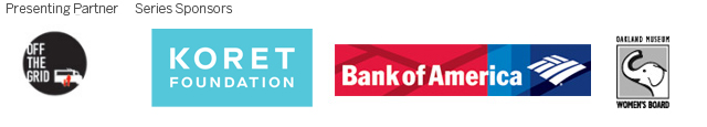 Logos for Off the Grid, Koret Foundation, Bank of America, Oakland Museum Women's Board