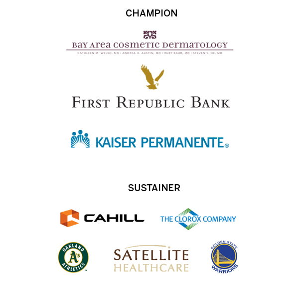 A graphic featuring the logos of Bay Area Cosmetic Dermatology, First Republic Bank, Kaiser Permanente, Cahill, The Clorox Company, Oakland A's, Satellite Healthcare, and the Golden State Warriors