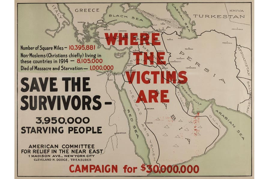 Unknown maker, Save the Survivors, circa 1915. Poster, 20.125 x 28.125 in. Collection of the Oakland Museum of California, Gift of American Committee for relief in the near east.