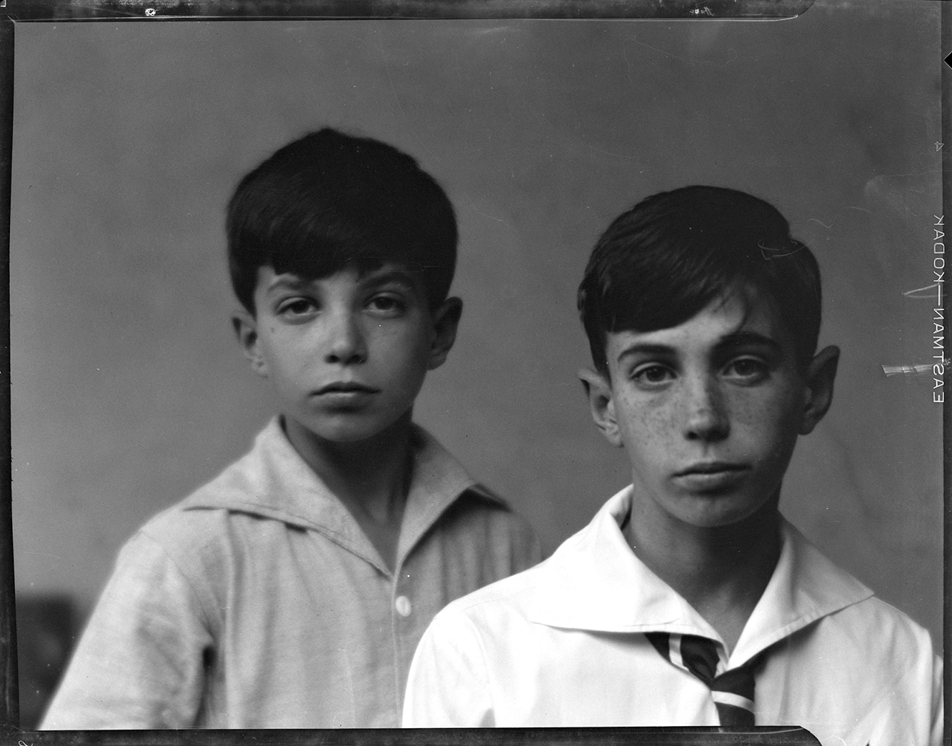 Black and white image of 2 young boys