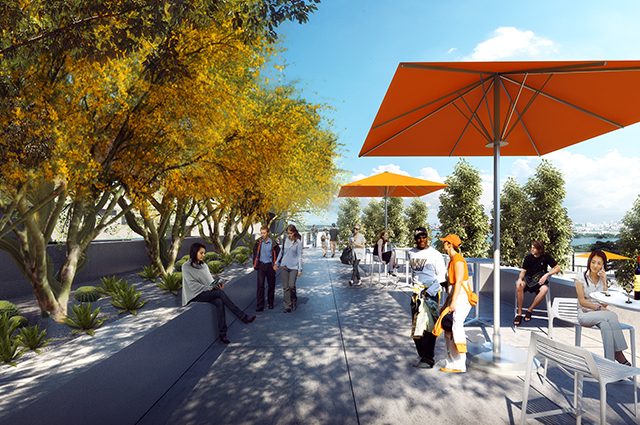 A rendering of OMCA's newly improved gardens and patio spaces