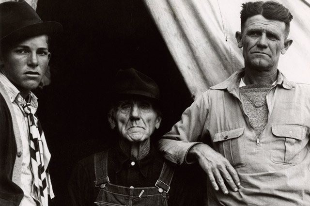 Dorothea Lange, Three Generations of Texans, Now Drought Refugees, circa 1935. © The Dorothea Lange Collection, the Oakland Museum of California, City of Oakland. Gift of Paul S. Taylor.
