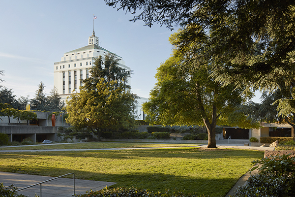 OMCA Gardens with the courthouse building in the background