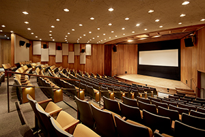 Angled view of the James Moore Theater seating and stage