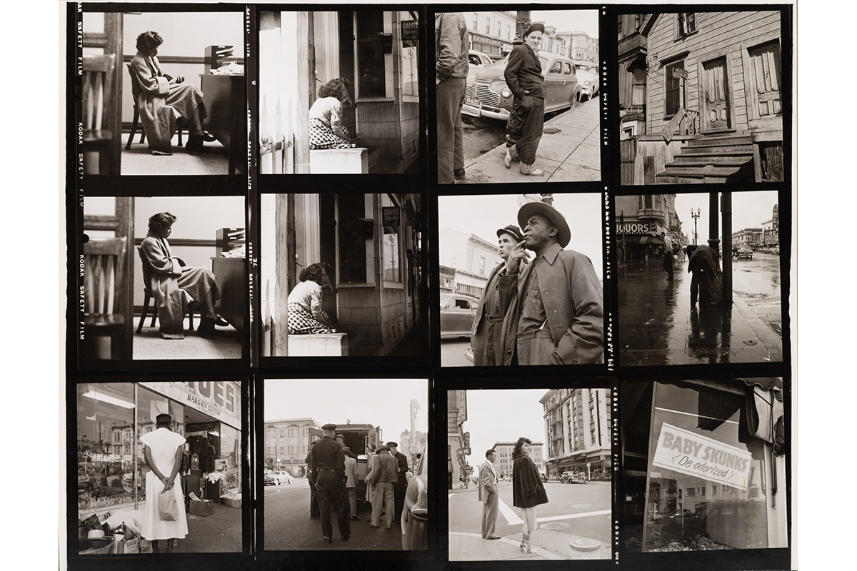 A contact sheet with 12 black and white photos of people and signs around Oakland