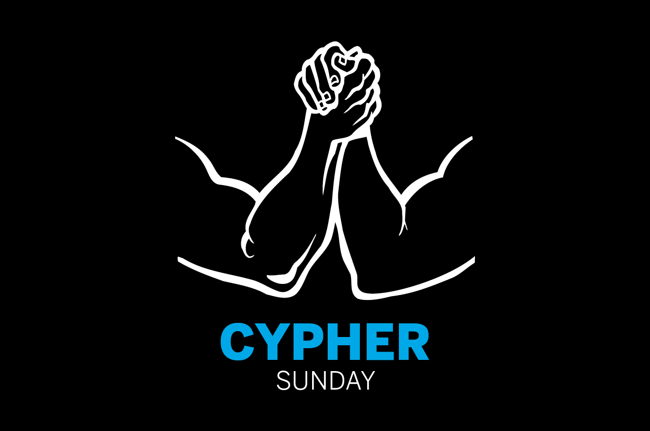 "Graphic illustration of two hands grippe with text ""cypher sunday"""