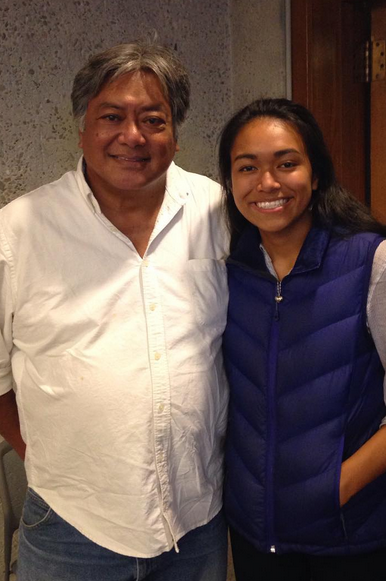 Artist Charles Valoroso with his daughter at the Oakland Museum of California.