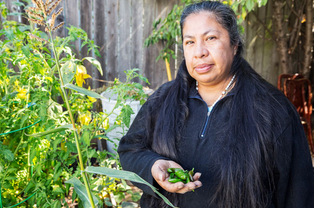 A woman holding jalapeños in her garden featured in Take Root: Oakland Grows Food at the Oakland Museum of California