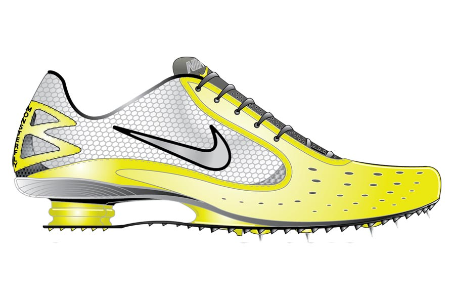 Art for the Nike Shox track spike. Courtesy of Steven Smith