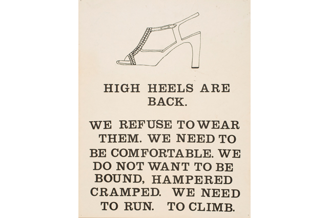 High Heels Office Dress Code Women's Rights poster in the Oakland Museum of California