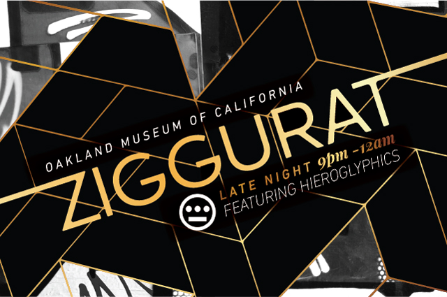 "Black and white geometric shapes with gold text ""Ziggurat Late Night"""