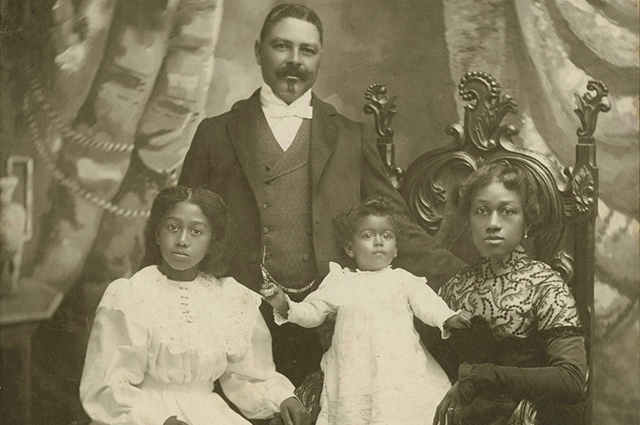 Black and white photo of William Shorey, his wife, and their two daughters