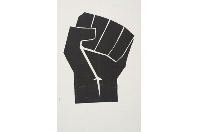 A Black Power fist made of construction paper