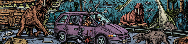 Colorful drawn image of a purple van driving on a highway full of dinosaurs