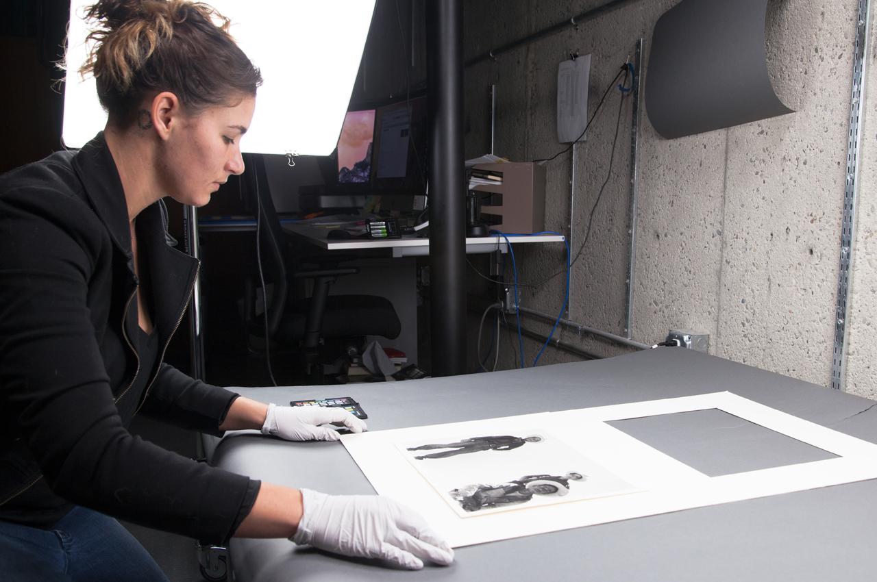 Digitizing Dorothea Lange's original photographs in-house at the Oakland Museum of California collections and archive