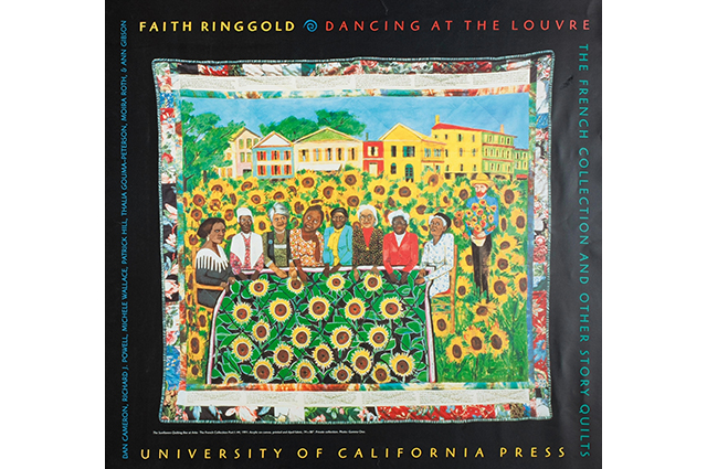 A drawing of a crowd of people in a field of sunflowers with a black border around that reads: Faith Ringgold. Dancing at the Louvre. The French Collection and others story quilts. University of California Press