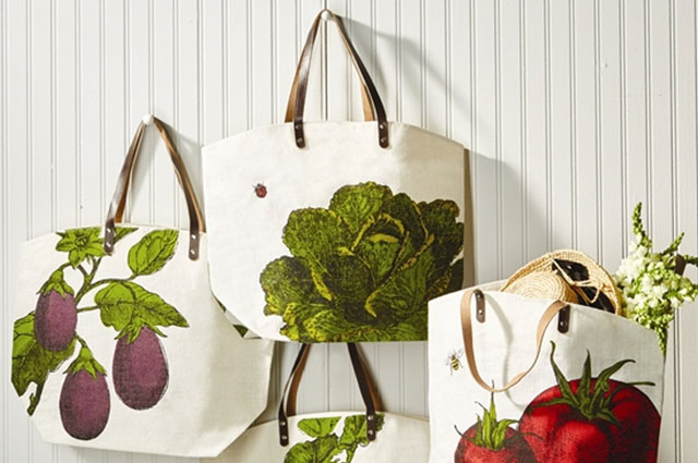 Farm to Market tote bags made of jute with leather handles feature vegetable illustrations