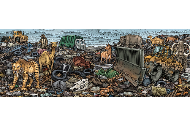 Drawn image of animals in a landfill, mostly tattered furniture, tractors, trucks, and animal skulls