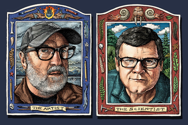 "Drawn image of a blue framed portrait of Ray Troll with the label ""The Artist"" underneath and a red framed portrait of Kirk Johnson with ""The Scientist"" underneath"