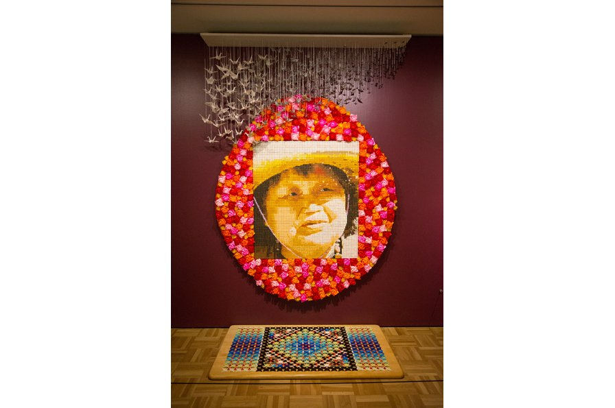 Lilli Lanier, Ruth Asawa, 2015. Origami paper, wood, string, beads, 9' H x 6' W x 3' D. Courtesy of the artist. Photo: Odell Hussey Photography