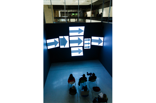 Installation view of the reconstructed multiscreen presentation Think, produced for the IBM Pavilion, New York World's Fair, 1964-65 Barbican Art Gallery, London 21 October 2015 – 14 February 2016 © Tristan Fewings/ Getty Images