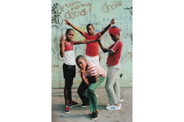 Young boys posing photographed by Jamel Shabazz featured in RESPECT: Hip-Hop Style and Wisdom at the Oakland Museum of California