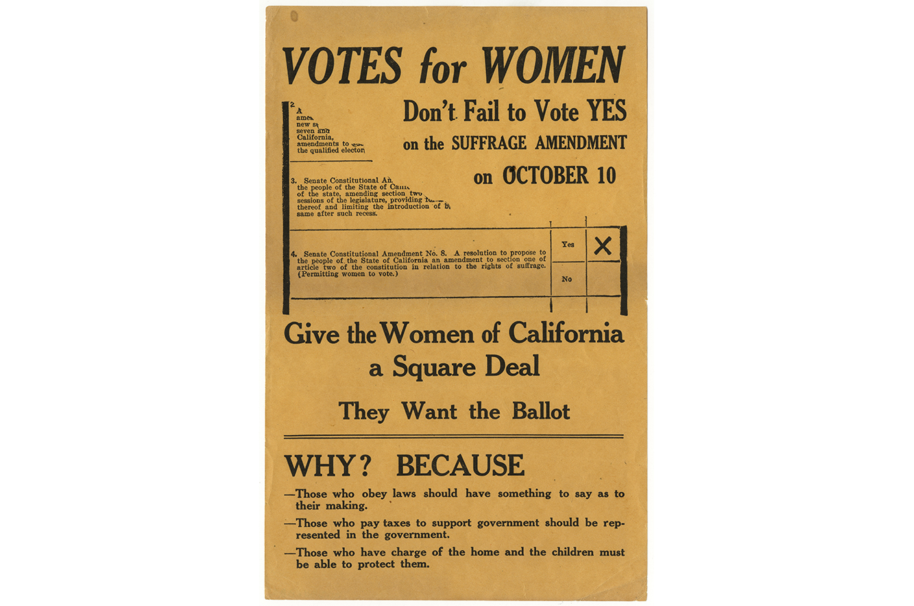 An old protest poster that reads: VOTES for WOMEN. Don't Fail to Vote YES on the SUFFRAGE AMENDMENT on OCTOBER 10.