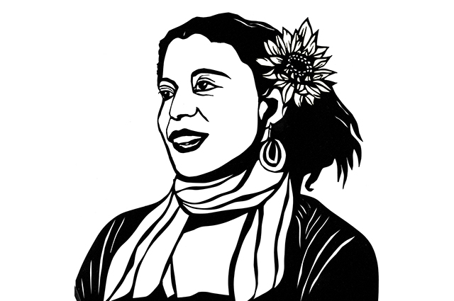 Drawn image of a woman with a flower in her hair