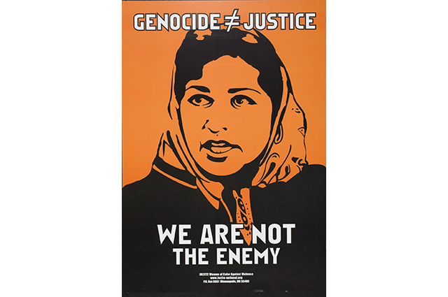 An orange poster of a woman with a headscarf on. The text reads: Genocide =/= justice. We are not the enemy.